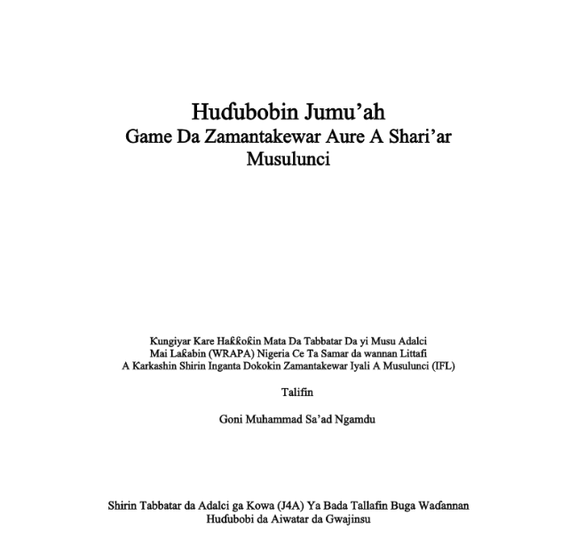 A model Khutbah (Hausa Version)